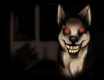 ambiguous_gender canine creepy creepypasta dark_background dog feral grin hand husky looking_at_viewer nightmare_fuel red_eyes smile.dog solo teeth   Rating: Safe  Score: 5  User: VillainousVulpix  Date: July 19, 2013