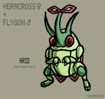 alternate_species ambiguous_gender arthropod fan_character feral flygon fusion green_skin heracross hybrid insect nintendo pokebreeder pokémon solo video_games