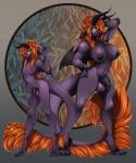 abstract_background absurd_res anthro balls breasts dickgirl fsmaverick fur glowing glowing_eyes hair hi_res horn intersex male nipples orange_hair penis plu purple_fur purple_skin yellow_eyes  Rating: Explicit Score: 22 User: asw_xxx Date: April 16, 2016