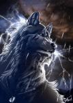 ambiguous_gender anthro blue_eyes canine cloud collar face_mark fur grey_fur lightning mammal mountain night overcast raining sky solo storm water were werewolf wet wolfroad   Rating: Safe  Score: 8  User: Vanzilen  Date: April 09, 2015