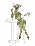 2015 alcohol anthro beverage bracelet cervine chair clothed clothing crossed_legs deer female hooves jewelry mammal monochrome necklace open_mouth sitting solo table wide_hips wine ziblie  Rating: Safe Score: 7 User: chdgs Date: June 17, 2015""