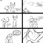 ? 1:1 <3 anthro antlers bodily_fluids bovid caprine cervid clothed clothing comic domestic_sheep female forest group horn hug male mammal monochrome nervous outside pictographics sheep simple_background slypon speech_bubble sweat topless tree white_background