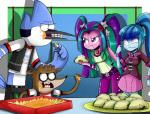 2014 anthro aria_blaze_(eg) blue_hair bracelet cartoon_network clothing digital_media_(artwork) eating equestria_girls female food green_hair group hair jewelry male mammal mordecai_(regular_show) my_little_pony nachos necklace nervous pendant purple_eyes purple_hair raccoon regular_show rigby_(regular_show) sonata_dusk_(eg) spiked_bracelet sweat taco the-butch-x two_tone_hair   Rating: Safe  Score: 15  User: 2DUK  Date: December 04, 2014