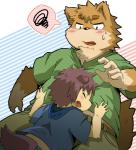 black_nose blush canine chubby clothing eyebrows hair happy hinami hug kemono male mammal midriff open_mouth size_difference sweat teeth   Rating: Safe  Score: 2  User: terminal11  Date: April 13, 2014