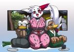 anthro avian bird bittenhard clothing duck eyewear farfetch'd female glasses group japanese_clothing kimono kneeling leek looking_at_viewer male nintendo open_mouth pokémon video_games zangoose   Rating: Safe  Score: 11  User: ktkr  Date: January 25, 2015