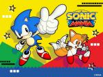 4:3 anthro big_eyes big_head black_eyes canine clothing conjoined_eyes cute english_text footwear fox fur gloves hedgehog hi_res long_nose male mammal miles_prower multi_tail naoto_ohshima nude official_art open_mouth pointing pointy_ears quills shoes smile sonic_(series) sonic_mania sonic_the_hedgehog star text tongue toony video_games