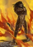 abs animal_genitalia anthro balls fangs feline fire fur hair jc lion long_hair looking_at_viewer male mammal muscles nude pecs penis smile solo teeth toned   Rating: Explicit  Score: 7  User: furry_and_yiff  Date: April 15, 2015