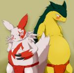 anthro blush chubby clothing duo fard_(pixiv) fire_type fundoshi kemono male nintendo pokémon red_eyes standing teeth typhlosion underwear video_games zangoose   Rating: Questionable  Score: 6  User: terminal11  Date: February 02, 2014