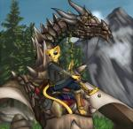 arc_(artist) cat clothing dragon elder_scrolls feline fur katia_managan khajiit mammal mountain outside prequel smile the_elder_scrolls the_elder_scrolls_v:_skyrim tree video_games wyvern yellow_fur   Rating: Safe  Score: 22  User: Nebelung  Date: February 28, 2014