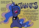 2014 absurd_res english_text equine female feral friendship_is_magic happy hi_res horn mammal my_little_pony princess_luna_(mlp) redapropos smile solo text winged_unicorn wings  Rating: Safe Score: 11 User: Robinebra Date: September 25, 2014