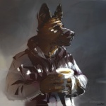 2015 anthro canine clothing cup dog german_shepherd male mammal solo stigmata   Rating: Safe  Score: 6  User: deadmen2  Date: February 19, 2015