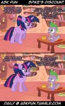 ask_pun comic dialogue dragon duo equine female feral friendship_is_magic horn humor joke male mammal my_little_pony scalie spike_(mlp) text tumblr twilight_sparkle_(mlp) unicorn  Rating: Safe Score: 18 User: securitywyrm Date: January 04, 2013