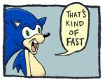anthro beige_skin belly big_eyes big_head black_nose blue_fur blue_hair border derp_eyes dialogue english_text fur green_eyes hair hedgehog humor male mammal matt_rat meme nude open_mouth open_smile parody reaction_image side_view smile solo sonic_(series) sonic_the_hedgehog speech_bubble text that's_kind_of_hot tongue toony