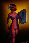 anthro argonian breasts dagger female horn non-mammal_breasts nude pussy retro_parasite scalie shield solo the_elder_scrolls video_games weapon   Rating: Explicit  Score: 23  User: Retro_Parasite  Date: August 21, 2012