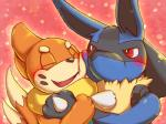 abstract_background ambiguous_gender anthro black_fur blue_fur blush buizel canine cuddling cute duo eyes_closed fur lucario mammal mustelid nintendo open_mouth pokémon rasuku@07_(artist) red_eyes simple_background teeth tongue video_games yellow_fur  Rating: Safe Score: 13 User: DeltaFlame Date: December 09, 2014