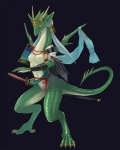 anthro armor black_background breasts digitigrade dragon female katana kogarah lizard melee_weapon nipples reptile scalie simple_background solo sword warrior weapon