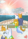 <3 anthro black_nose blue_eyes boat canine clothed clothing cloud comic couple duo elliot english_text fluke fox fur green_eyes hug male male/male mammal motion_of_the_ocean necklace orange_fur outside ryan sea shirt sky smile sunset text vehicle water white_fur wolf  Rating: Safe Score: 19 User: MaloWolf Date: April 12, 2011