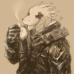 <3 amooooh anthro clothing cross dorohedoro eyes_closed fangs food gloves hi_res jacket kaiman lizard male reptile scales scalie simple_background solo spikesRating: SafeScore: 10User: Nicklo6649Date: April 09, 2018