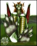 2003 anthro brown_hair claws clothed clothing dragon english_text feet female foot_focus green_scales hair horn jewelry markie necklace orange_eyes outside scalie sitting solo text white_scales wings yellow_sclera   Rating: Questionable  Score: -3  User: GameManiac  Date: March 30, 2015