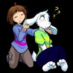 2015 ? alpha_channel ambiguous_gender anthro asriel_dreemurr big_ears blush boss_monster caprine clothed clothing confusion cute duo floppy_ears fur goat hair human male mammal pants protagonist_(undertale) shirt simple_background tom_fischbach transparent_background undertale video_games white_fur