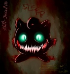 ambiguous_gender blood blue_eyes creepy feral glowing glowing_eyes gore jigglypuff looking_at_viewer nintendo open_mouth pokemonfromhell pokémon simple_background smile solo teeth text video_games   Rating: Questionable  Score: 2  User: ThatOnePorcupine  Date: December 03, 2014