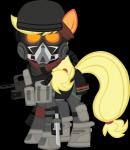 absurd_res alpha_channel applejack_(mlp) armor assault_rifle blonde_hair equine female feral friendship_is_magic gun hair helmet hi_res horse killzone knife looking_at_viewer mammal my_little_pony plain_background pony ranged_weapon rifle solo transparent_background weapon zvn   Rating: Safe  Score: 5  User: remigius  Date: January 19, 2015