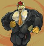 abs abstract_background belt biceps big_muscles bowser bulge clothing hair horn koopa male mario_bros muscles necktie nintendo red_hair reptile ripped-saurian scalie solo suit undressing video_games   Rating: Questionable  Score: 1  User: InsaneScout  Date: May 11, 2015