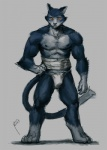 2013 abs bandage biceps blue_fur bulge cat chest_tuft feline fundoshi fur grey_fur male muscles nick300 nipples orange_eyes pecs pose solo standing toned topless tuft underwear whiskers   Rating: Safe  Score: 5  User: furmann  Date: August 23, 2013