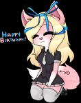 alpha_channel birthday blonde_hair cabbit cat chibi clothed clothing eye_through_hair eyes_closed feline female fur gr0ssking hair hybrid kneeling lagomorph legwear long_hair mammal necktie pink_fur rabbit ribbons shirt simple_background skirt solo stockings translucent_hair transparent_background w_(character) white_markings  Rating: Safe Score: 7 User: wagen Date: September 14, 2015