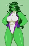 female gloves green_hair green_lipstick green_skin hair leotard nezumi she-hulk solo   Rating: Safe  Score: 4  User: Ko-san  Date: July 04, 2012