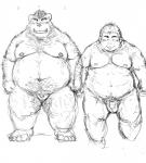2013 barazoku bear black_and_white blush circumcised duo eyes_closed flaccid front_view human humanoid_penis kemono kotobuki looking_at_viewer male mammal monochrome muscular obese overweight penis simple_background sketch small_penis standing white_background