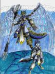 android angel anthro armored blade_star canine female fox hero machine mammal mecha mechanical nyghtmar3 polearm robot trident warrior water weapon   Rating: Safe  Score: 3  User: Nyghtmar3  Date: March 21, 2015