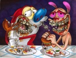 blue_nose bone braces canine corkscrew dog food gantzcraziness male mammal pink_eyes red_nose ren_and_stimpy ren_hoek skull stimpy  Rating: Safe Score: 5 User: slyroon Date: May 24, 2013