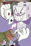 2017 animate_inanimate bow_tie card clothed clothing cup cuphead_(character) cuphead_(game) detailed_background dice digital_media_(artwork) facial_hair grin group humanoid king_dice male mugman mustache not_furry object_head smile sssskylark straw suit teeth toony