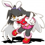 5_fingers anthro big_eyes cel_shading clothed clothing crossdressing dipstick_ears eto_rangers fake_ears fake_rabbit_ears footwear fully_clothed fur gloves_(marking) grey_fur hairband hand_on_hip kemono klonoa klonoa_(series) legwear long_ears looking_at_viewer male markings on_one_leg one_eye_closed open_mouth open_smile pointing shaolin_bones shirt shoes skirt slit_pupils smile socks solo standing tongue toony unknown_species video_games white_fur wink yellow_eyes