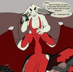 anthro butt demon dialogue eyebrows fellatio female lagomorph magpiehyena male male/female mammal oral phone rabbit sex simple_background sofa text tongue vein wings  Rating: Explicit Score: 5 User: Panda_Pariah Date: March 27, 2016