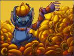2010 alien autumn black_border black_claws black_eyes blue_fur blue_nose border claws digital_media_(artwork) disney donryu experiment_(species) fall food fruit fur holding_object lilo_and_stitch notched_ear on_one_leg pumpkin pumpkin_patch scarf signature solo standing stitchRating: SafeScore: 0User: BooruHitomiDate: May 27, 2017