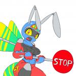 2015 animated anthro breasts daytona_usa elpatrixf english_text female hornet machine mechanical open_mouth plain_background red_eyes robot smile solo stop_sign text white_background wings yellow_sclera   Rating: Safe  Score: 4  User: Lance_Armstrong  Date: March 24, 2015