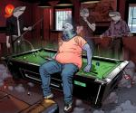 anthro avian bald beak billiards billmund bird clothed clothing fish group hi_res inside male marine overweight pigeon pool_cue pool_table shark sitting standing sweat sweatdrop teethRating: SafeScore: 1User: BooruHitomiDate: September 21, 2017