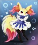 abstract_background bow_tie braixen canine clothing female flower fox fur glowing hi_res mammal midna01 nintendo notes open_mouth paws plant pokémon red_eyes semi-anthro simple_background solo standing stick teeth video_games watermark yellow_fur  Rating: Safe Score: 7 User: Nugget91 Date: April 24, 2016