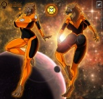 absurd_res agent_orange big_breasts bodysuit breasts claws clothing dc_comics female hi_res larfleeze looking_at_viewer looking_back muscles orange_bodysuit rear_view skinsuit solo space standing toe_claws walter_sache  Rating: Safe Score: 16 User: FwP Date: April 28, 2013