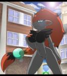 anthro black_fur breast_grab breasts bridge building claws cloud featureless_crotch female fur grey_fur hair latiar lens_flare long_hair looking_at_viewer looking_down navel nintendo outside pokémon ponytail red_hair smile solo sun teeth video_games wide_hips window zoroark   Rating: Questionable  Score: 13  User: pressfarttocontinue  Date: February 03, 2015