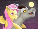 absurd_res chimera cute_fangs discord_(mlp) don_random draconequus duo equid equine female feral flutterbat_(mlp) fluttershy_(mlp) friendship_is_magic fur hasbro hi_res horse male male/female mammal my_little_pony pony simple_background