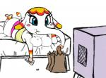 animal_crossing anthro bag bed big_breasts blue_eyes blush breasts butt chubby cleavage clothed clothing colored eating elephant eyelashes female lying mammal margie markings nintendo on_front pajamas panties peanuts_(food) remote solo television underwear unfinished video_games  Rating: Questionable Score: 5 User: gurk64 Date: June 18, 2014