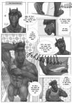 anthro balls brothers bulge clothed clothing comic dialogue duo english_text equine flaccid greyscale hi_res horse humanoid_penis male mammal monochrome muscular nude penis rov shower sibling text uncut