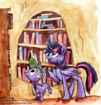 2014 book_shelf bookshelf cutie_mark dragon equine female friendship_is_magic green_eyes hair horn library mammal my_little_pony purple_eyes purple_hair sophiecabra spike_(mlp) standing traditional_media twilight_sparkle_(mlp) unicorn watercolor winged_unicorn wings   Rating: Safe  Score: 0  User: 2DUK  Date: April 15, 2014