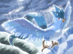 ambiguous_gender articuno avian beak bird cloud denchi_nezumi feathered_wings feathers legendary_pokémon mountain nintendo outside pokémon red_eyes sky snow solo talons video_games wings
