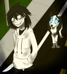 black_fur black_hair blue_eyes canine clothed clothing creepypasta cute day dog duo feral fur grass grin hair human husky jeff_the_killer knife male mammal outside road smile smile.dog teeth tomorrow-yesterday white_fur  Rating: Safe Score: 7 User: VillainousVulpix Date: July 03, 2013