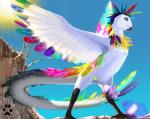2013 4_toes ambiguous_gender avian beak claws crest feathers feral fuzzle_(artist) green_eyes lens_flare long_tail multicolored_feathers outside shadow sky solo sun toes tree_stump watermark white_feathers wingsRating: SafeScore: 14User: MintyDogDate: February 04, 2019