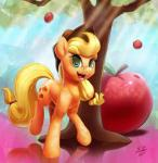2014 apple applejack_(mlp) blonde_hair cowboy_hat cutie_mark equine female friendship_is_magic fruit green_eyes hair hat horse looking_at_viewer mammal my_little_pony pony solo tree tsitra360   Rating: Safe  Score: 8  User: 2DUK  Date: March 03, 2015